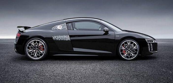 L'Audi R8 aux couleurs de Final Fantasy garée au Mondial de L'Auto !
