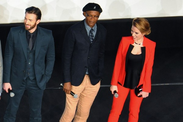 Chris Evans, Samuel L. Jackson et Scarlett Johansson
