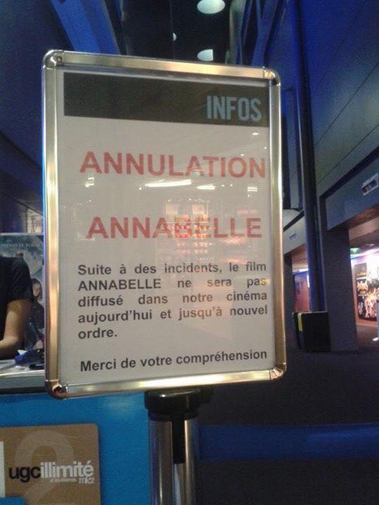 Annabelle : le film retiré de certaines salles