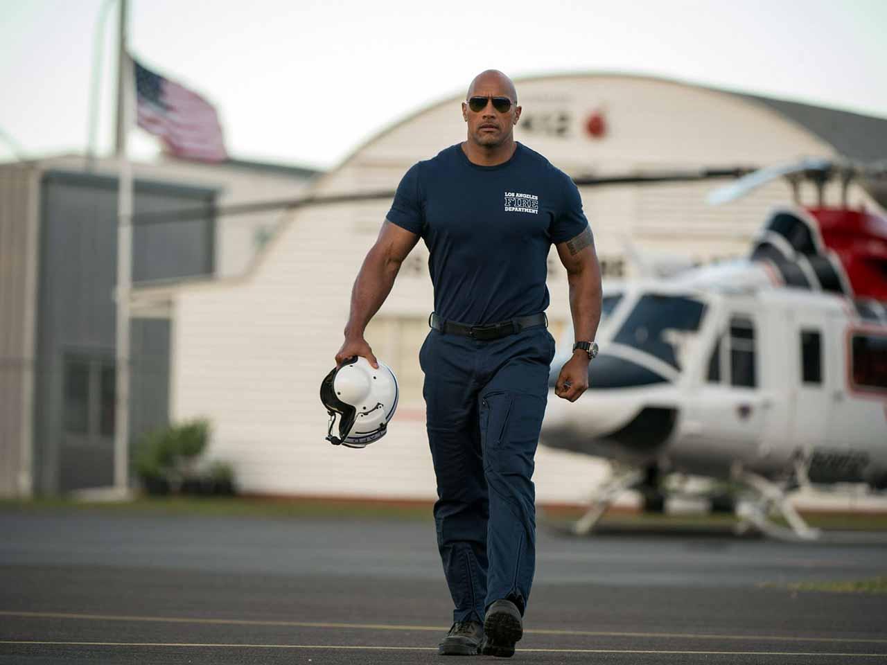San Andreas, The Rock pilote d'hélicoptère