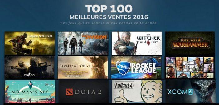 Steam dévoile son Top 100 des meilleures ventes 2016 !