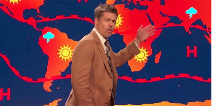 Brad Pitt se transforme en présentateur météo à cause de Trump