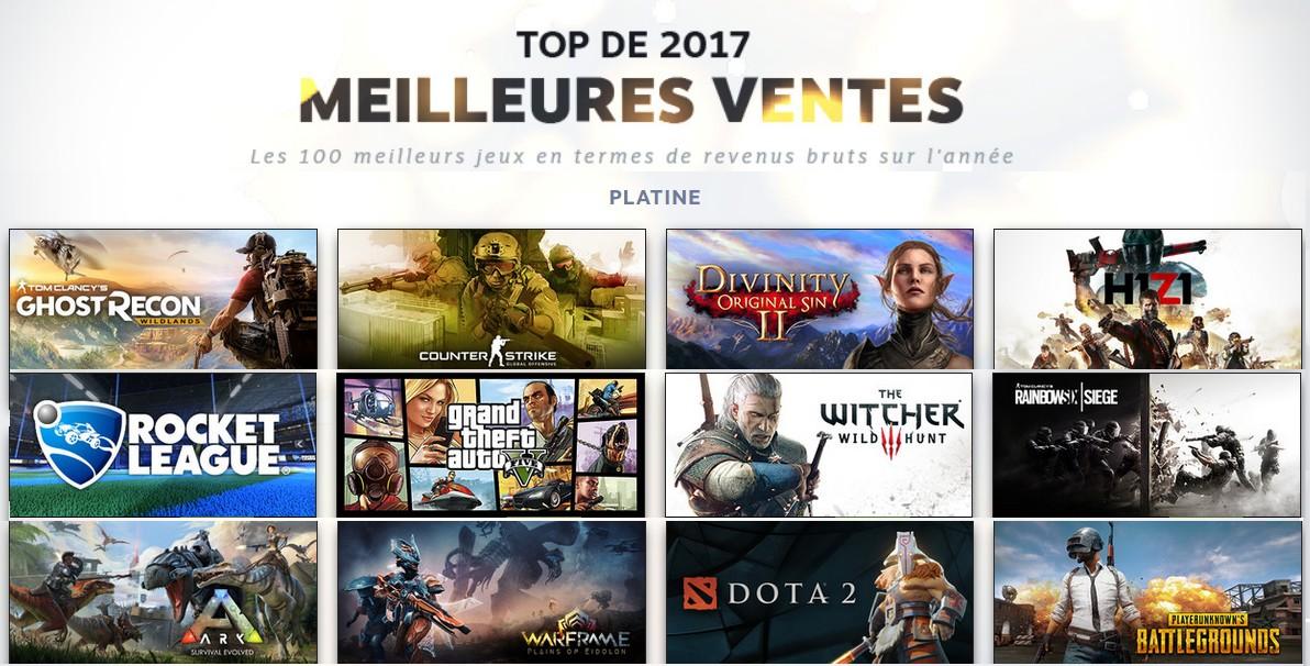 Steam révèle les 100 meilleures ventes de jeux pour 2017