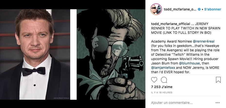 Jeremy Renner sera Twitch dans le film Spawn !