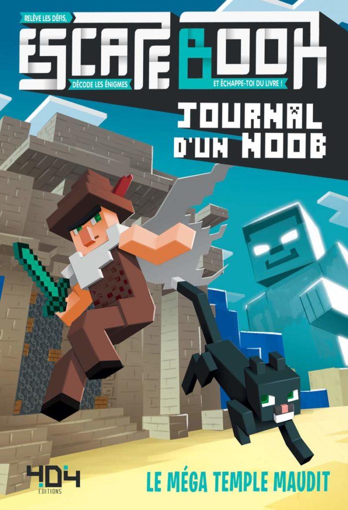 Critique Escape Book Journal d'un Noob, le Méga temple maudit couverture : le héros et le chat, dans un style inspiré du jeu vidéo Minecraft, sautent pour échapper à une entité menaçante.