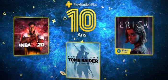 PlayStation Plus juillet 2020 BA 2K20, Rise of the Tomb Raider 20ème Anniversaire et Erica